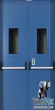 Противопожарная двустворчатая дверь тамбурная, остекленная  E I60, Ral 9007