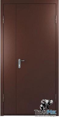 Противопожарная двустворчатая дверь тамбурная EI60, Ral 8017 (1.5 мм)