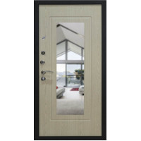 Входная металлическая дверь, Престиж, Черный шелк / Беленый дуб зеркало