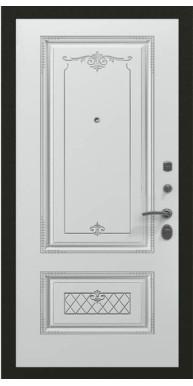 Входная металлическая дверь, Премьер Аккорд, Черное серебро / Белая эмаль патина серебро