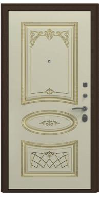 Входная металлическая дверь, Премьер Аккорд, Антик медь / Слоновая кость патина золото