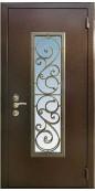Металлическая дверь с ковкой и стеклопакетом 002