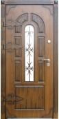Металлическая дверь с ковкой и стеклопакетом 009
