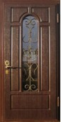 Металлическая дверь с ковкой и стеклопакетом 006