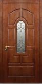 Металлическая дверь с ковкой и стеклопакетом 005