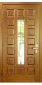 Металлическая дверь с ковкой и стеклопакетом 004