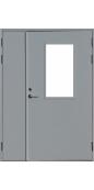 Противопожарная стеклянная двустворчатая дверь EI-60 серая