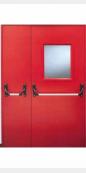 Противопожарная двустворчатая (1.5 мм) остекленная дверь EI60 красного цвета