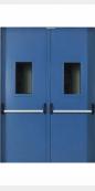 Противопожарная двустворчатая (1.5 мм) дверь, EI60, остекленная, синяя