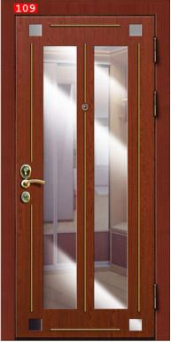 Металлическая дверь «Герда», с зеркалом, клен красный