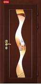 """Металлическая дверь """"Ева"""", с зеркалом, файнлайн коричневый"""