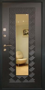 """Металлическая дверь """"Греция"""", с зеркалом, тиковое дерево"""
