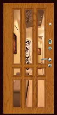"""Металлическая дверь """"Z-34"""", с зеркалом, дуб натуральный"""